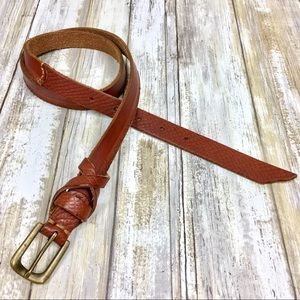 Brown Genuine Leather Snake Print Belt